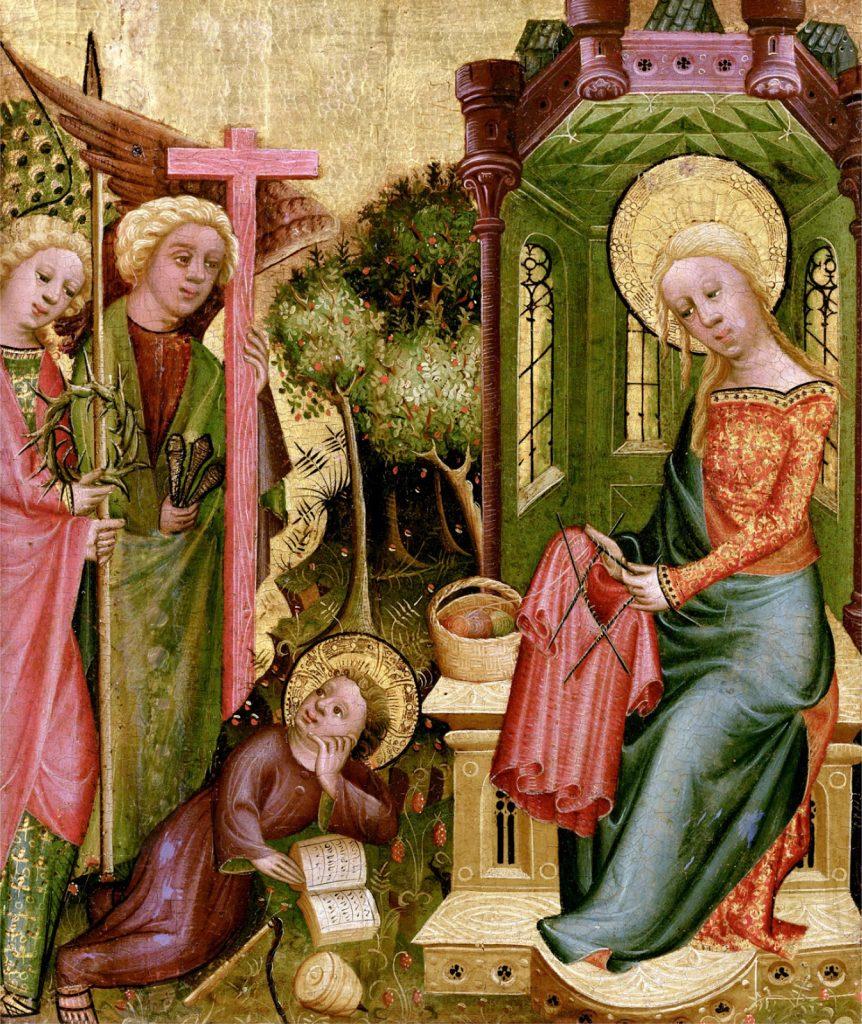 Maleri av jomfru maria som strikker, strikking, jomfru maria strikker