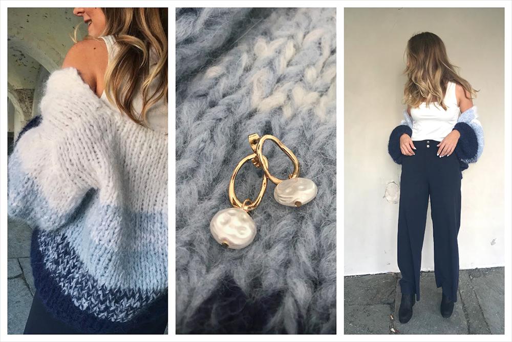 Bildemontasje med 3 bilder med solveig ikledd Camilla Pihl crocus-genseren og et nærbilde av gensren med et smykke i midten, Camilla Pihl Crocus montasje